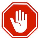 Hand with stop sign